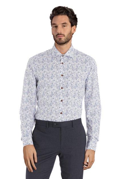 Chemise blanche à fleurs bleues – slender fit