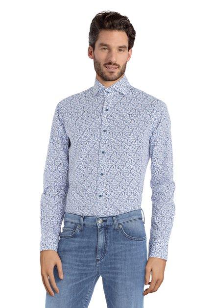 Chemise blanche à fleurs bleues – slim fit