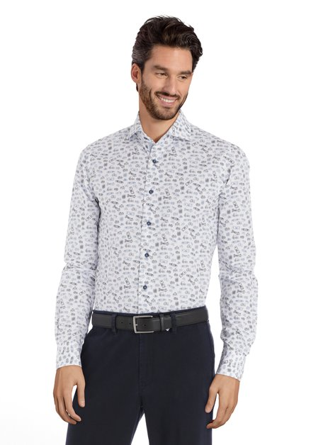 Chemise blanche à imprimé noir-bleu – slim fit