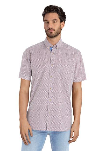 Chemise blanche à motif bleu rouge – regular fit