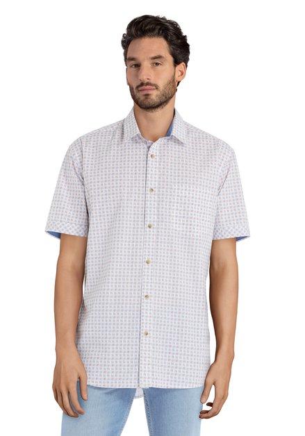 Chemise blanche à motif rouge bleu – comfort fit
