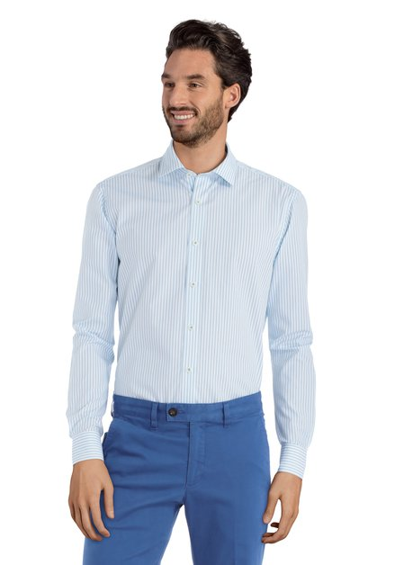 Chemise blanche à rayures turquoises – slender fit