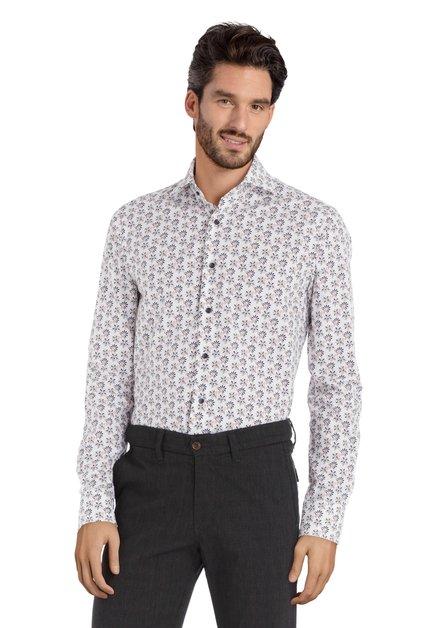 Chemise blanche avec motif floral fin – slim fit