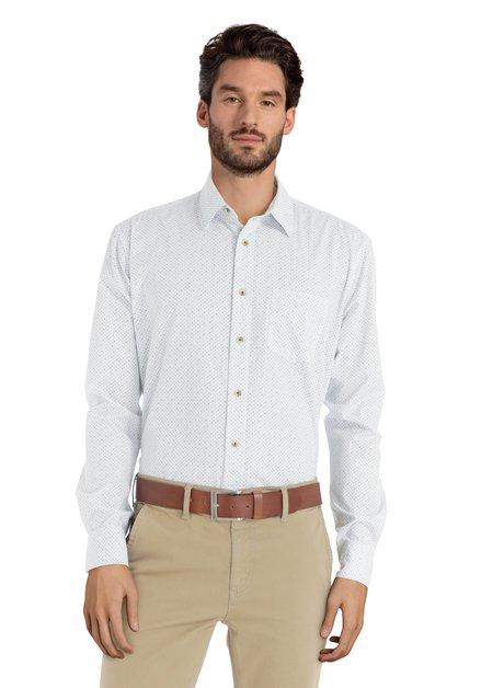 Chemise blanche mini-motif bleu-vert – regular fit
