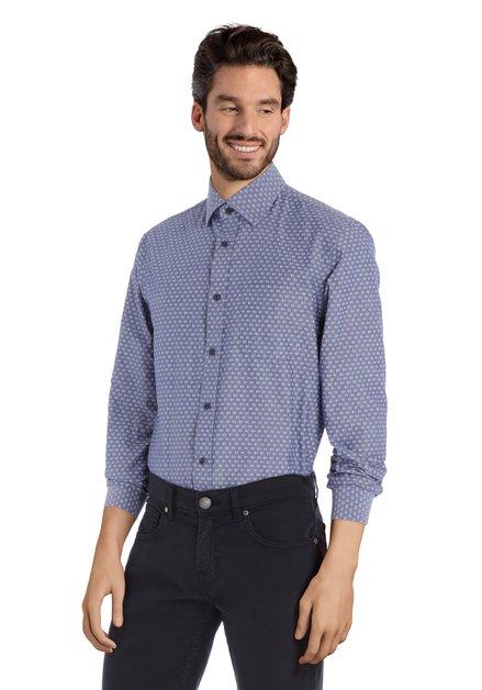 Chemise bleu avec imprimé écru - regular fit