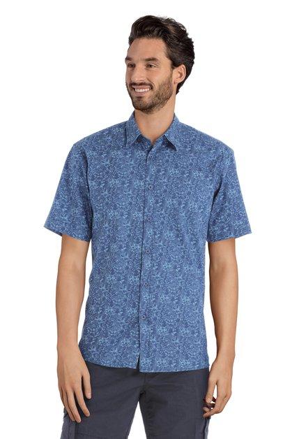 Chemise bleu avec imprimé tropicale