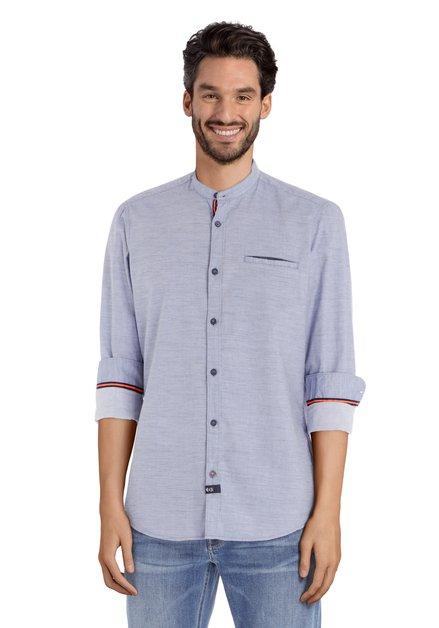Chemise bleu clair avec galon orange et col mao