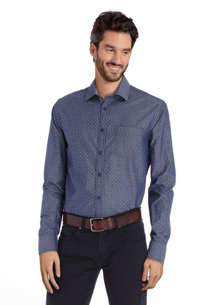 Chemise bleu foncé avec mini imprimé – regular fit