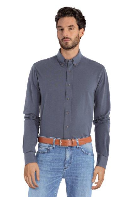 Chemise bleu foncé avec texture tricot - slim fit