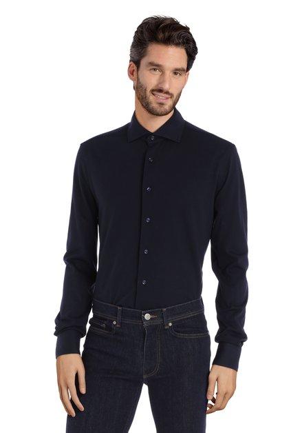 Chemise bleu foncé en coton - slim fit