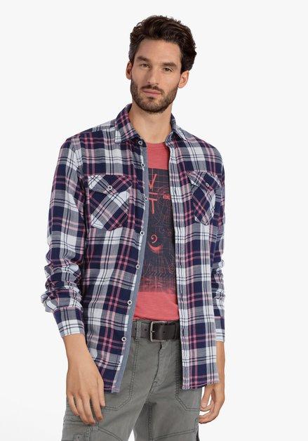 Chemise bleu marine à carreaux roses – regular fit