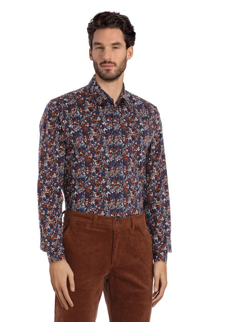 Chemise bleu marine à fleurs fines – regular fit