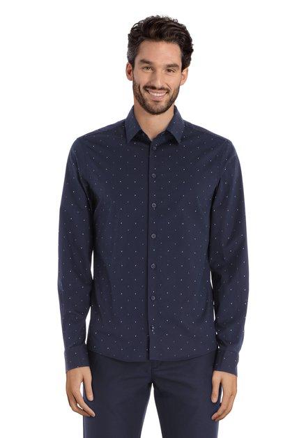Chemise bleu marine à mini-imprimé – slim fit