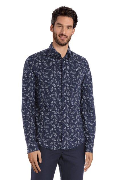 Chemise bleu marine à plumes blanches – slim fit