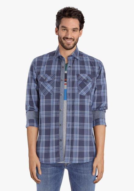 Chemise bleue à carreaux – regular fit