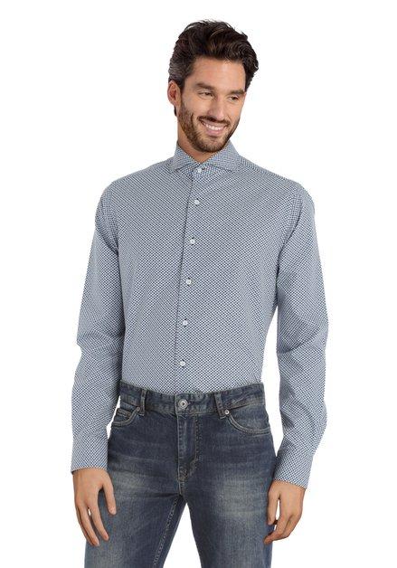 Chemise bleue à fleurs géométriques – slim fit