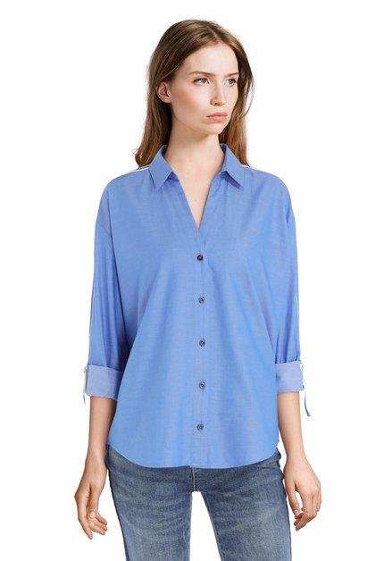 Chemise bleue à galons sportifs