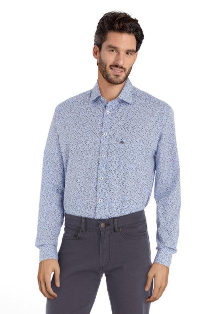 Chemise bleue à motif fleuri - regular fit