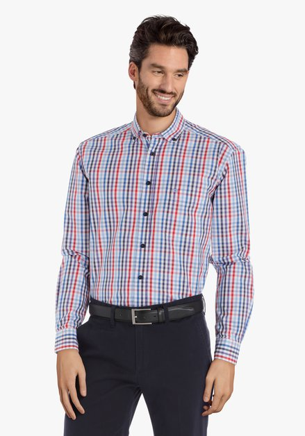 Chemise bleue avec carreaux – comfort fit