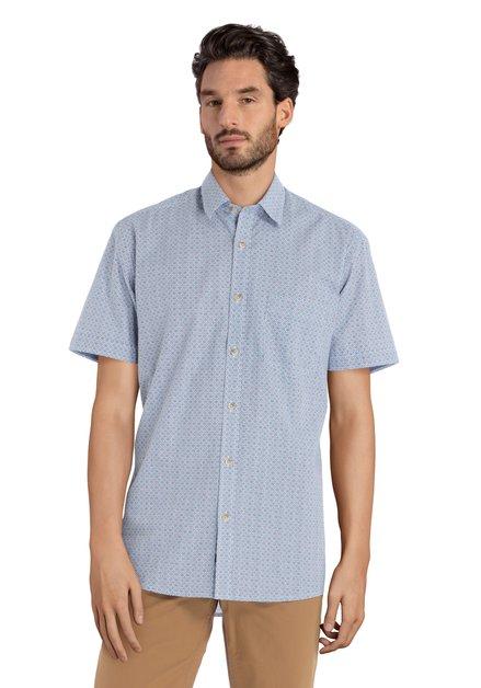 Chemise bleue motif manches courtes – regular fit