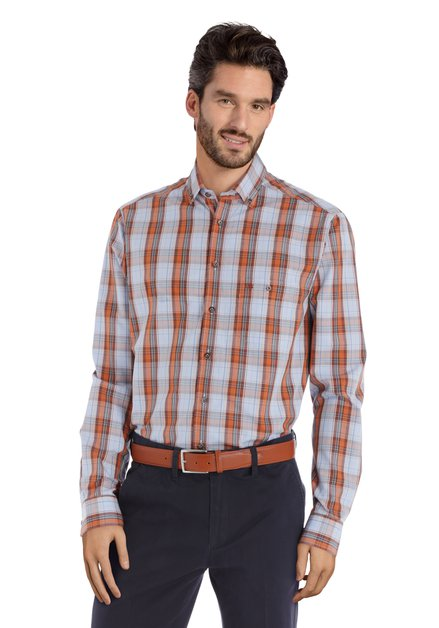 Chemise carreaux bleu-orange clair – regular fit