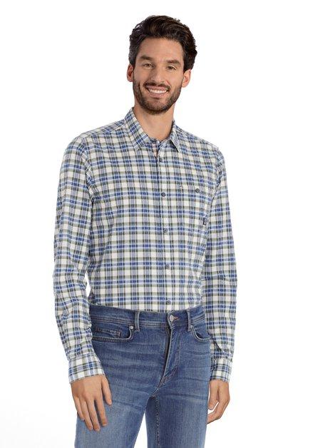 Chemise écru avec carreaux bleu/kaki