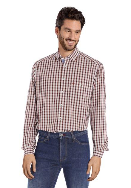Chemise écrue à carreaux bruns - comfort fit