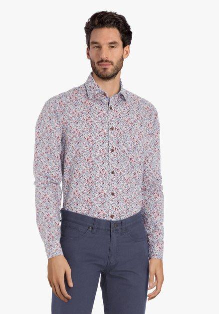 Chemise écrue à fleurs rouge-bleu – regular fit