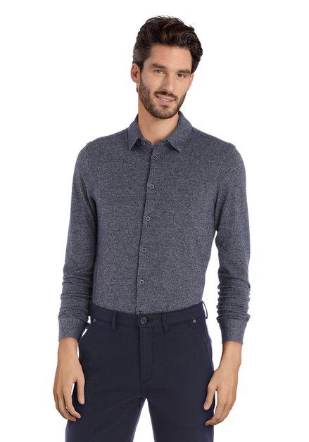 Chemise en coton bleu marine mouchetée – slim fit