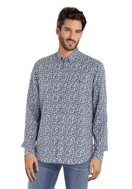 Chemise gris clair avec imprimé à feuilles