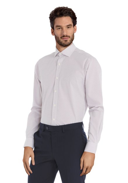 Chemise rouge à mini-motif - Sigmund - slender fit