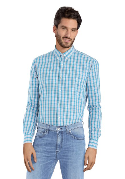 Chemise turquoise à carreaux – slender fit
