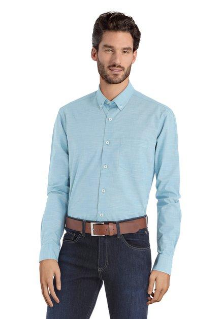 Chemise turquoise à mini-imprimé – regular fit