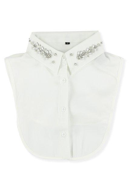 Col de chemise blanc avec perles