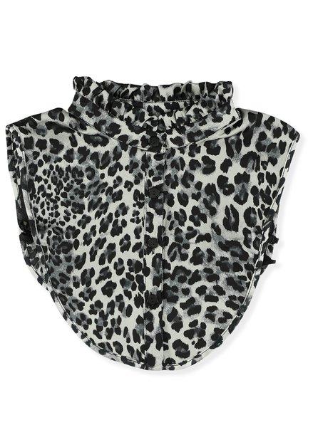 Col de chemise bleu à imprimé léopard