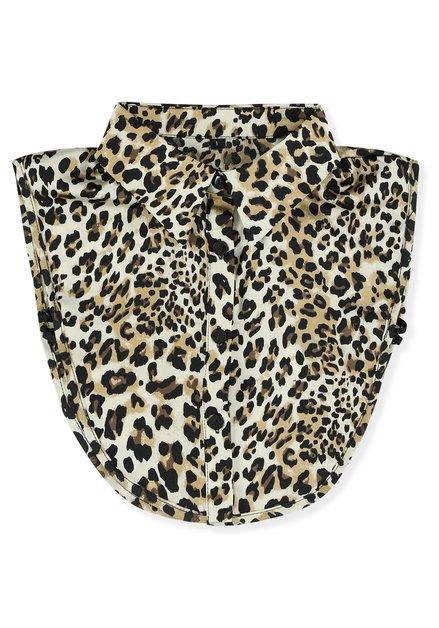 Col de chemise brun à imprimé léopard