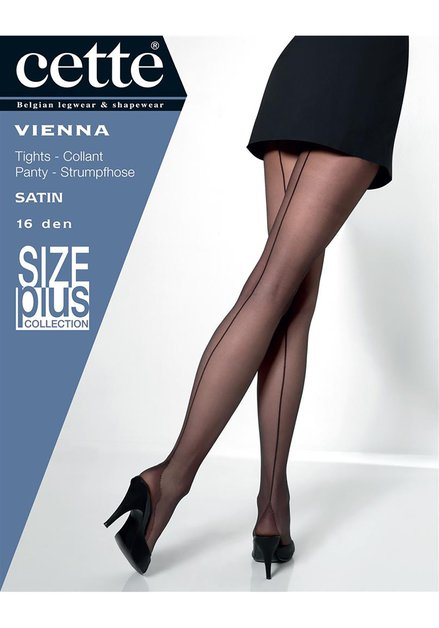 Collant noir à rayure - Vienna - 16 den