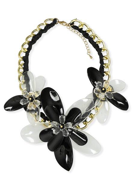 Collier noir et doré avec fleurs