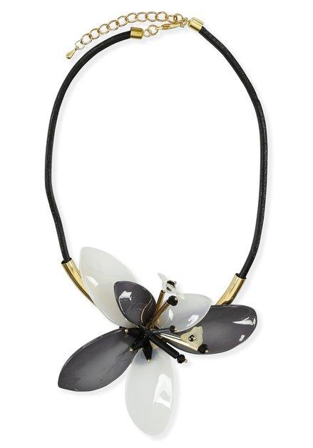 Collier noir et doré avec grande fleur