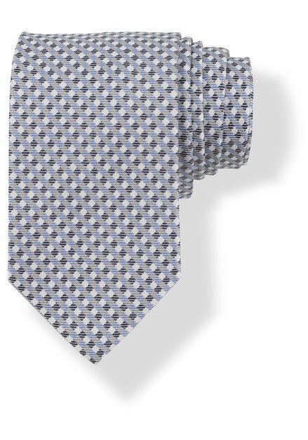 Cravate à petits carreaux gris en bleus