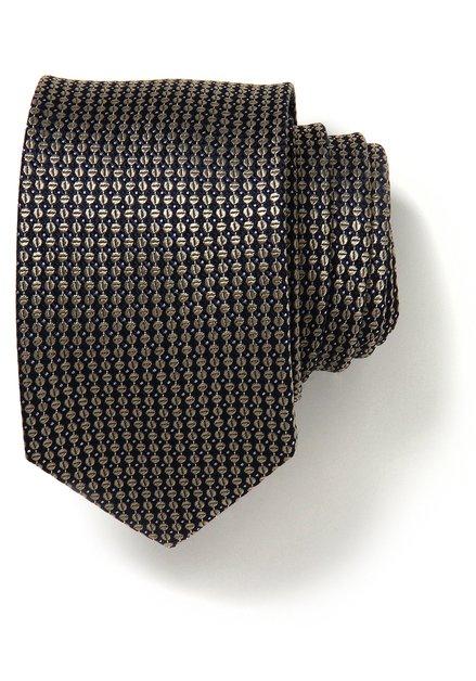 Cravate avec motif brun doré en soie