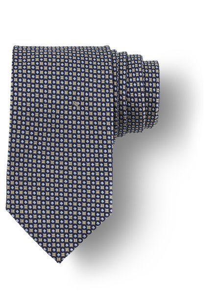 Cravate beige à mini-imprimé bleu