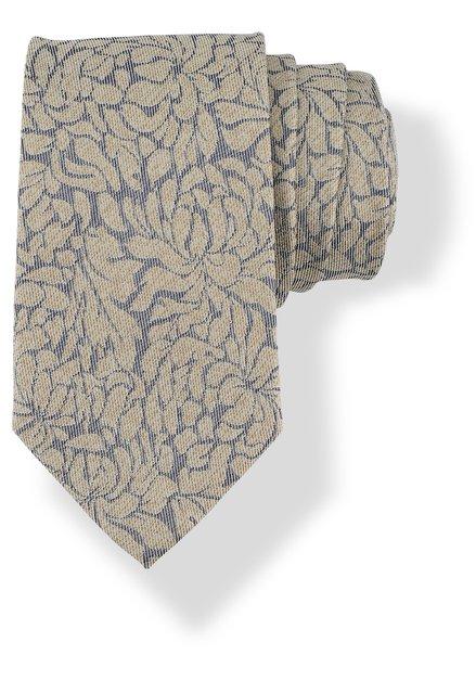 Cravate beige en soie à motif fleuri bleu