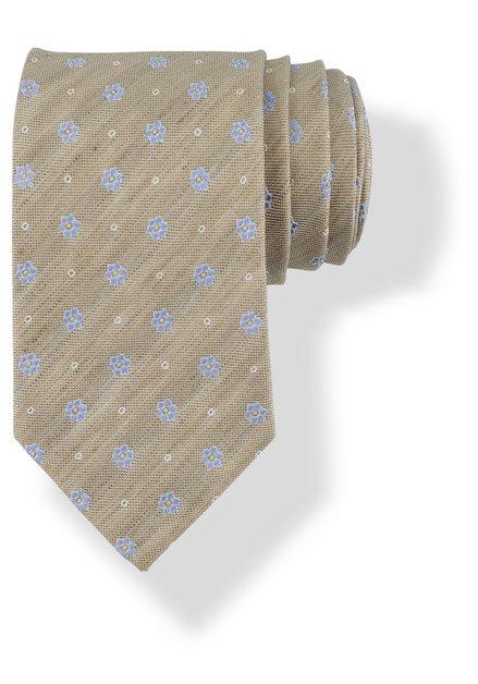 Cravate beige en soie à petites fleurs bleues