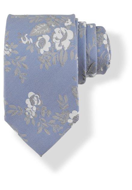 Cravate bleu clair avec fleurs grises