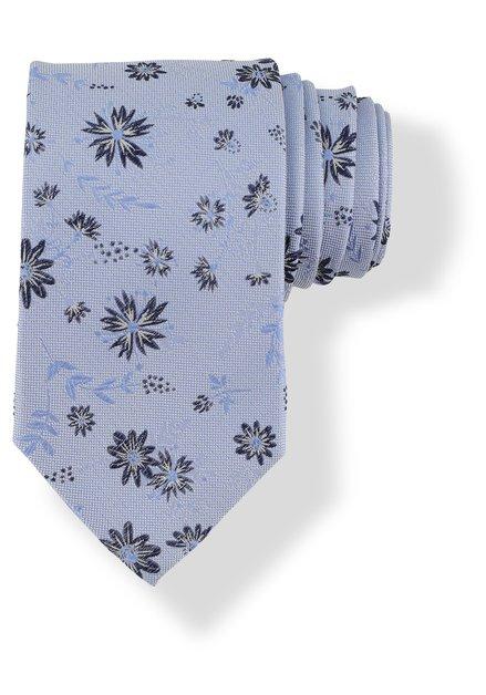 Cravate bleu clair avec fleurs noires