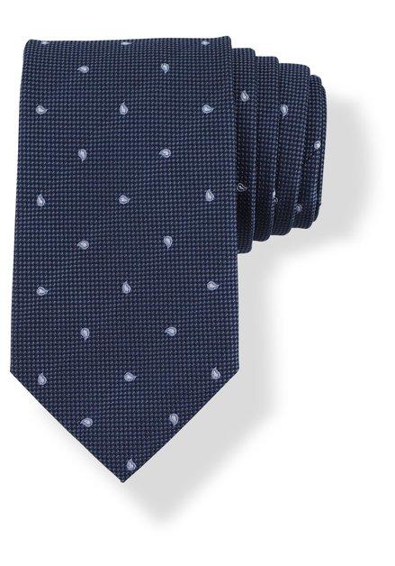Cravate bleu fonce en soie à motif en goutte
