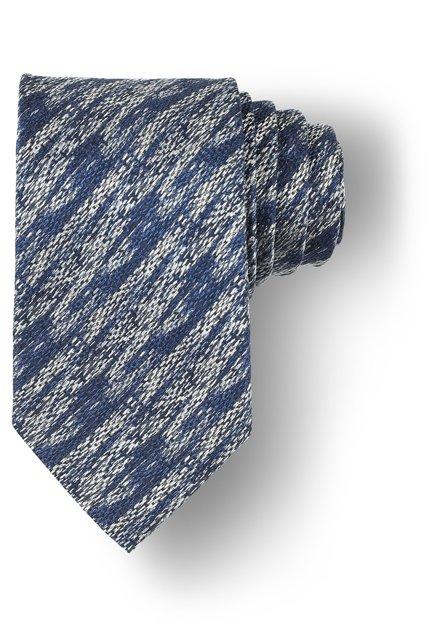 Cravate bleue à motif argenté
