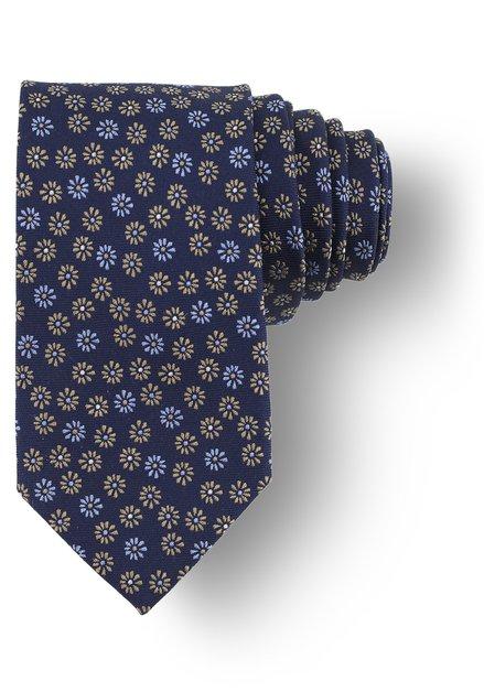 Cravate bleue à motif fleuri