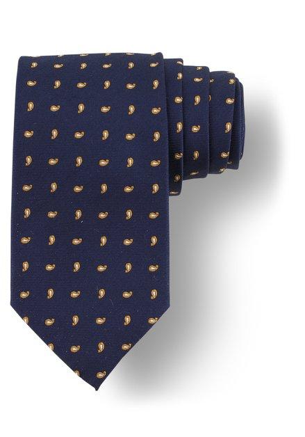 Cravate bleue à motif jaune ocre